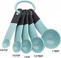 Deals List: KitchenAid KE057OHAQA Classic Measuring Spoons, Set of 5, Aqua Sky/Black