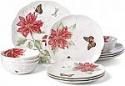 Deals List: Lenox Butterfly Meadow Christmas Poinsettia 12 Piece Dinnerware Set