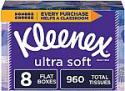 Deals List: Kleenex Ultra Soft Facial Tissues, 8 Rectangular Boxes, 120 Tissues per Box (960 Tissues Total)