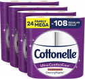 Deals List: Cottonelle Ultra ComfortCare Soft Toilet Paper with Cushiony CleaningRipples, 24 Family Mega Rolls