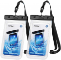 """Deals List: Mpow 097 Universal Waterproof Case, IPX8 Waterproof Phone Pouch Dry Bag Compatible for iPhone 11/11 Pro Max/Xs Max/XR/X/8P/SE Galaxy up to 6.8"""", Phone Pouch for Beach Kayaking Travel or Bath (2 Pack)"""