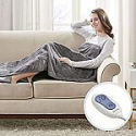 """Deals List: Beautyrest - Heated Electric Throw with Foot Pocket - Solid Microlight Plush - 52"""" x 62"""" - Grey - with 3-Setting Heat Controller"""