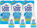 Deals List: Clear Eyes Eye Drops, Triple Action Lubricant, 0.5 oz, Pack of 3