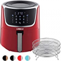 Deals List: GoWISE USA GW22957 7-Quart Electric Air Fryer with Dehydrator & 3 Stackable Racks, Digital Touchscreen with 8 Functions + Recipes, 7.0-Qt, Red/Silver