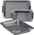 Deals List: Anolon Advanced Nonstick Bakeware Set with Grips includes Nonstick Bread Pan, Cookie Sheet / Baking Sheet and Baking Pan - 3 Piece, Gray