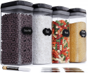 Deals List: Chef's Path Airtight Extra Large Food Storage Container - 4 PC Set/All Same Size - Kitchen & Pantry Organization - Ideal for Cereal, Spaghetti, Noodles, Pasta & Flour - Plastic Canisters with Lids