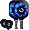 Deals List: niupipo Pickleball Paddle Set of 2 - USAPA Approved Graphite Pickleball Paddles, Carbon Fiber Surface, Polypropylene Honeycomb Core, Cushion Grip, Paddle Covers, Lightweight Pickleball Racket, Blue