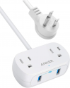 Deals List: Anker Power Strip with USB PowerExtend USB 2 mini, 2 Outlets, and 2 USB Ports, Flat Plug, 5 ft Extension Cord, Safety System for Travel, Desk, and Home Office