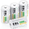 Deals List: 4CT EBL D Size Battery D Cell 10000mAh Ni-MH D Batteries