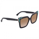 Deals List: Fendi Brown Gradient Square Sunglasses with Turquoise Studs