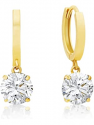 Deals List: 14k Solid Gold ROUND Stud Earrings with Genuine Swarovski Zirconia | 0.50 to 3.0 CTW | With Gift Box