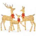 Deals List: 3-Piece Lighted Christmas Deer Set Outdoor Decor with LED Lights
