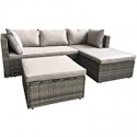 Deals List: AmazonBasics Outdoor Patio Garden 3-pc Wicker Rattan Sectional Sofa Lounge Set with Cushions and Ottoman (Grey)