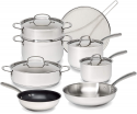 Deals List: Goodful Classic Stainless Steel Cookware Set with Tri-Ply Base, Impact Bonded Pots and Pans, Dishwasher Safe, 12-Piece