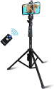 """Deals List: Selfie Stick & Tripod Fugetek, Integrated, Portable All-in-One Professional, Heavy Duty Aluminum, Bluetooth Remote Compatible with Apple & Android Devices, Non Skid Tripod Feet, Extends to 51"""", Black"""