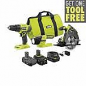 Deals List: RYOBI 18V ONE+ Li-ion Cordless 3-Tool, 2 Battery Combo Kit + Bonus Free Tool