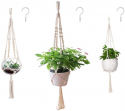 Deals List: AOMGD 3 Pack Macrame Plant Hanger and 3 PCS Hooks Indoor Outdoor Hanging Plant Holder Hanging Planter Stand Flower Pots for Decorations - Cotton Rope, 4 Legs, 3 Sizes