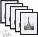 Deals List: upsimples 9x12 Picture Frame Set of 5,Display Pictures 6x8 with Mat or 9x12 Without Mat,Wall Gallery Photo Frames,Black