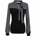 Deals List: Women's Tie-Bow Neck Striped Blouse Long Sleeve Shirt Office Work Splicing Blouse Shirts Tops