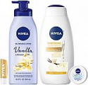 Deals List: NIVEA Very Vanilla Self-Care Kit - 4 Piece Bundle with Body Lotion, Body Wash, Lip Balm, and Multipurpose Cream