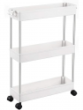 Deals List: SPACEKEEPER 3 Tier Slim Storage Cart Mobile Shelving Unit Organizer Slide Out Storage Rolling Utility Cart Tower Rack for Kitchen Bathroom Laundry Narrow Places, Plastic & Stainless Steel, White