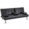 Deals List: LuxuryGoods Modern Faux Leather Futon w/Cup Holders
