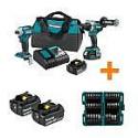 Deals List: Makita 18V LXT Brushless Combo Kit with 4 X 5.0 Ah Battery & nImpact Bit Set(45-Pc)