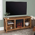 Deals List: Walker Edison Wren Classic 4 Cubby Fireplace TV Stand for TVs up to 65 Inches, 58 Inch, Barnwood Brown