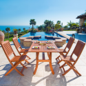 Deals List: Malibu Outdoor 5-piece Wood Patio Dining Set with Curvy Leg Table & Folding Chairs