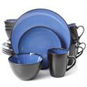 Deals List: Gibson Home Soho Round 16 Piece Dinnerware Set, Blue/Black