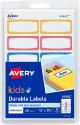 "Deals List: 60-Count Avery 0.75"" x 1.75"" Durable Kids Gear Labels (Neon, 41442)"