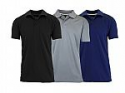Deals List: 3-Pack Galaxy by Harvic Men's Short Sleeve Moisture Wicking Polo