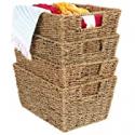 Deals List: 4-Pk BCP Seagrass Storage Tote Baskets, Laundry Organizer