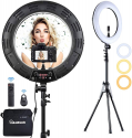 Deals List: Inkeltech Ring Light - 18 inch 60 W Dimmable LED Ring Light Kit with Stand - Adjustable 3000-6000 K Color Temperature Lighting for Vlog, Makeup, YouTube, Camera, Photo, Video - Control with Remote