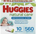 Deals List: Baby Wipes, Huggies Natural Care Refreshing Baby Diaper Wipes, Hypoallergenic, Scented, 10 Flip-Top Packs (560 Wipes Total)