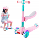 Deals List: SULIVES 3 Wheel Scooter for Kids Ags 2-12 - Foldable Scooter with Removable Seat, 3 Adjustable Heights, Extra-Wide Deck with 4 Light-Up Wheels, Best Gifts for Boys and Girls Toddler
