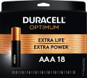 Deals List: Duracell Optimum AAA Batteries | Lasting Power Triple A Battery | Alkaline AAA Battery Ideal for Household and Office Devices | Resealable Package for Storage, 18 Count (Pack of 1)