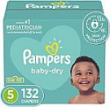 Deals List: Diapers Size 5, 132 Count - Pampers Baby Dry Disposable Baby Diapers, Enormous Pack