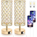 Deals List: Set Of 2 TOBUSA Touch Control Crystal Table Lamp Bedside