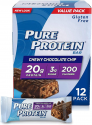 Deals List: Pure Protein Bars, High Protein, Nutritious Snacks to Support Energy, Low Sugar, Gluten Free, Chewy Chocolate Chip, 1.76oz, 12 Pack