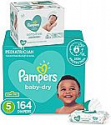 Deals List:  Diapers Size 5, 164 Count and Baby Wipes - Pampers Baby Dry Disposable Baby Diapers, ONE MONTH SUPPLY with Baby Wipes Sensitive 6X Pop-Top Packs, 336 Count