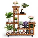 Deals List: TOETOL Wood Outdoor Multi Tier Flower Stand with Wheels