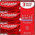 Deals List: Colgate Optic White Advanced Teeth Whitening Toothpaste with Fluoride, 2% Hydrogen Peroxide, Sparkling White - 3.2 Ounce (3 Pack)