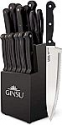 "Deals List: Ginsu KIS-KB-DS-014-4 Kiso Dishwasher Safe 14 Piece Set Black Block, 9"" W x 15"" H x 5"" D"