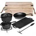 Deals List: Bruntmor Pre-Seasoned 7pc Cast Iron Dutch Oven Camping Cooking Set