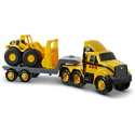 Deals List: Cat Construction Heavy Mover Caterpillar Toy Semi Truck and Trailer with Lights & Sounds, Yellow