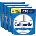 Deals List: Cottonelle Ultra CleanCare Soft Toilet Paper with Active Cleaning Ripples, 24 Family Mega Rolls, Strong Bath Tissue (24 Family Mega Rolls = 128 Regular Rolls)