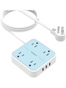 Deals List: Flat Plug USB Power Strip with 9.8 FT Extension Cord, TESSAN 4 Widely Spaced Outlets 3 USB Desktop Charging Station, Small Compact Size Wall Mountable , 1250W/10A for Home, Office