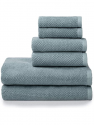 Deals List: Welhome Franklin Premium 100% Cotton 6 Piece Towel Set | Dusty Blue | Popcorn Textured | Highly Absorbent | Durable | Low Lint | Hotel & Spa Bathroom Towels | 600 GSM | 2 Bath 2 Hand 2 Wash Towels