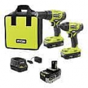 Deals List: RYOBI ONE+ 18V Cordless 2-Tool Combo Kit with (2) Batteries, Charger, Bag and HIGH PERFORMANCE Lithium-Ion 4.0 Ah Battery P1817-PBP004